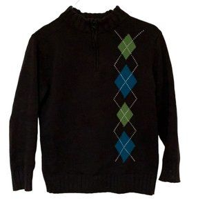 Gymboree Boy's Black Argyle Sweater M 7-8